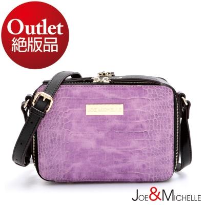 J&M  真皮梅倫絲鱷魚紋mini斜揹包 丁香紫