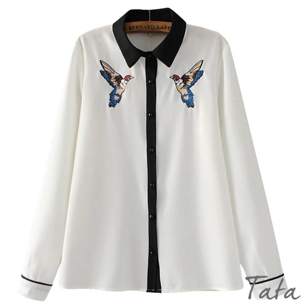 小鳥刺繡拼色襯衫 TATA