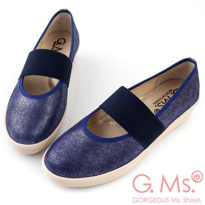 G.Ms.  MIT系列-金屬光點羊皮鬆緊腳背帶厚底鞋-寶藍