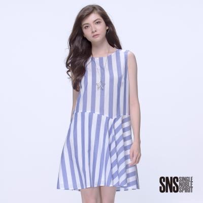 SNS 寧靜淡雅寬條紋拼接無袖洋裝(2色)