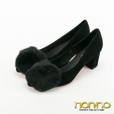 nonno-大兔毛球素面跟鞋-黑