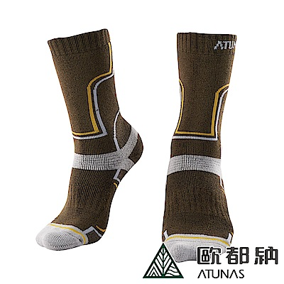 【ATUNAS 歐都納】吸濕排汗舒適中筒羊毛保暖登山襪A-A1733深棕綠