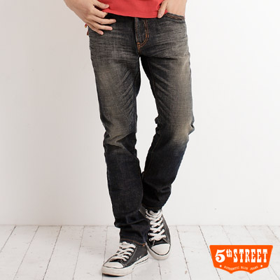 【5th STREET】簡潔突破 基本伸縮中直筒牛仔褲-男款(酵洗藍)