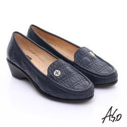 A.S.O 舒適通勤 柔軟幾何壓線奈米跟鞋 深藍