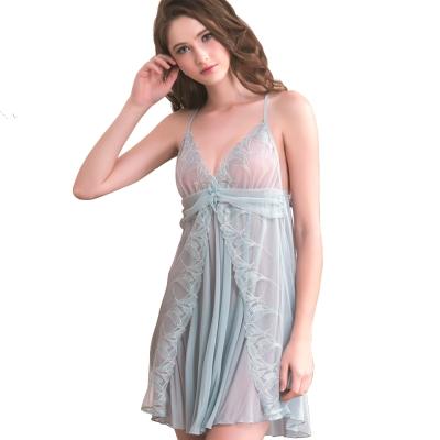 思薇爾 羽霓精靈系列連身蕾絲刺繡性感小夜衣(星晨灰)
