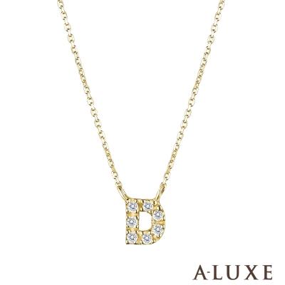 A-LUXE 亞立詩 Alphabet系列10K鑽石項鍊-D