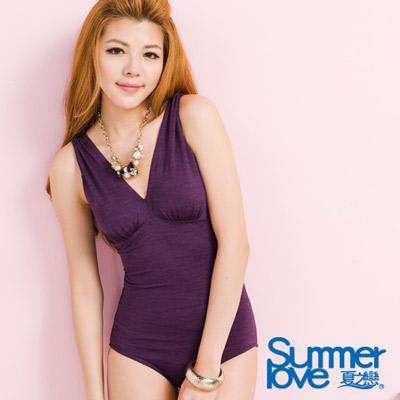 夏之戀SUMMERLOVE 魅力紫色連身三角泳衣-大尺碼