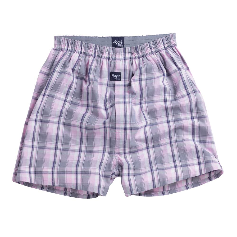 sloggi Men- 格紋平織寬鬆平口褲M-XXL (粉灰)