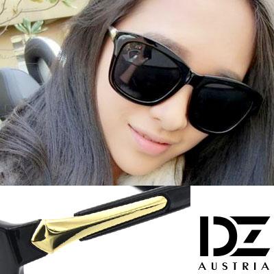 DZ 千頌伊款~角弧線矢 抗UV 偏光 太陽眼鏡墨鏡(亮黑A款)