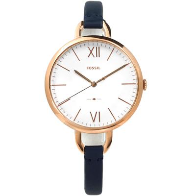 FOSSIL  Annette女伶氣質細緻真皮手錶-白x玫瑰金框x藍/36mm