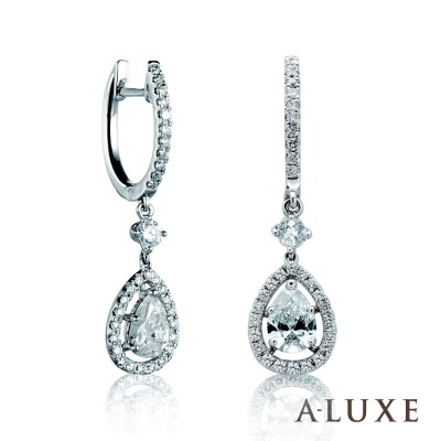 A-LUXE 亞立詩 18K金奢華麗緻 水滴梨形垂吊美鑽耳環