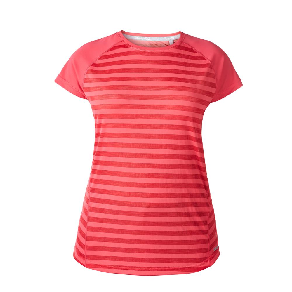 【Berghaus 貝豪斯】女款銀離子條紋短袖S04F15-粉