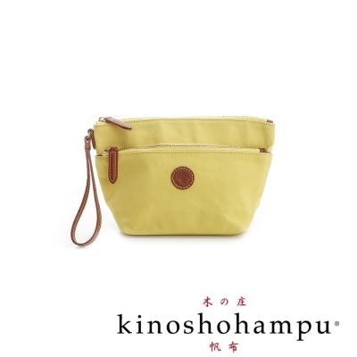 kinoshohampu 雙拉鍊梯形手拎包 黃