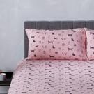 Yvonne Collection手繪狗狗印花雙人床包-粉紅