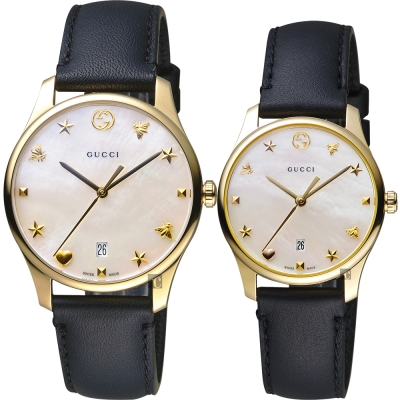 GUCCI古馳 G~Timeless 海洋超薄對錶~珍珠貝x黑色錶帶 36 28mm