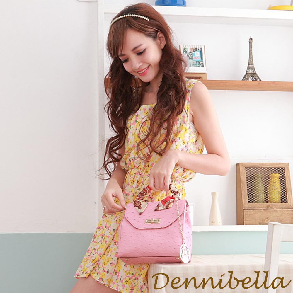 Dennibella 丹妮貝拉 -法式知性絲帶系列-牛皮斜背包-粉