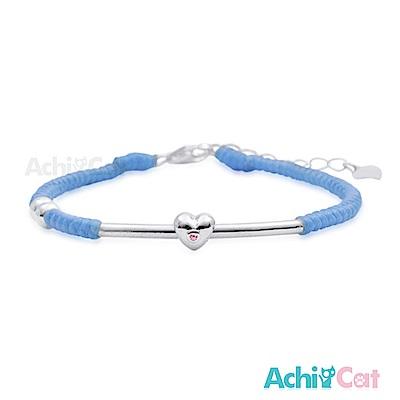 AchiCat 蠶絲蠟繩手鍊 925純銀 幸福心願(藍色)