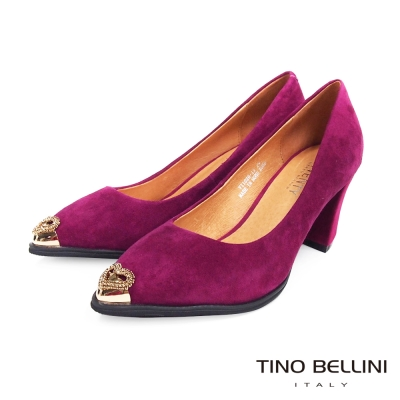 Tino-Bellini-摩登女郎心鑽CAP-TOE粗跟鞋-紫