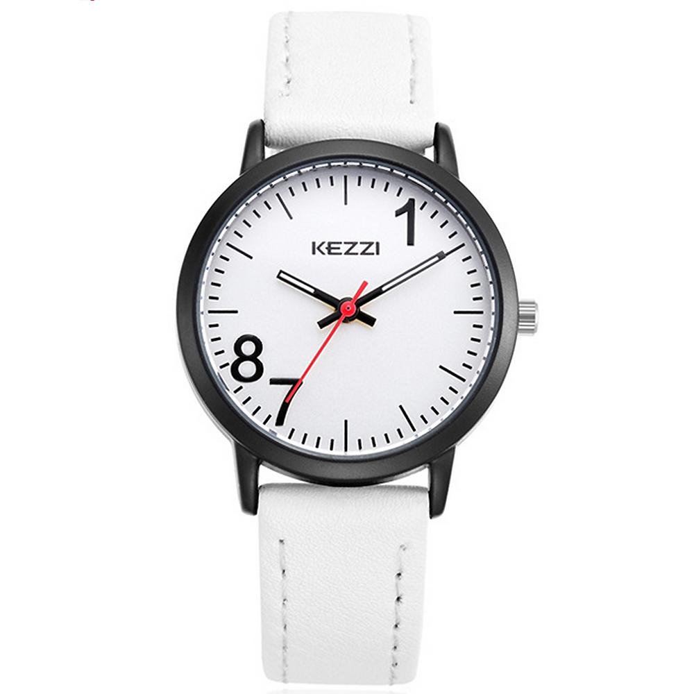 Kezzi珂紫-1674大數字178潮流皮帶情侶手錶-白色x女32mm