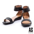 涼鞋 AS 簡約素雅純色一字牛皮粗跟涼鞋-黑
