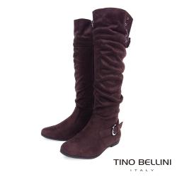 Tino Bellini 冬日氣息絨布抓皺線條長筒靴_咖