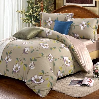 HOYACASA花漫夜語 加大四件式芯舒絨兩用被床包組