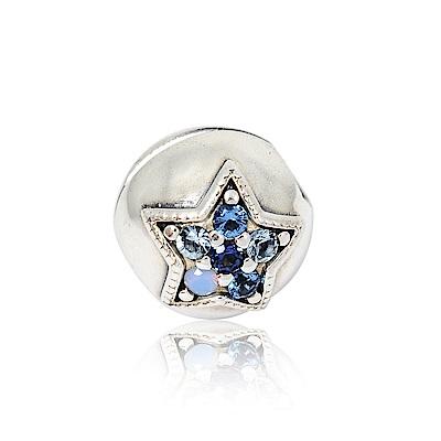 Pandora 潘朵拉 圓形璀璨藍色星辰 純銀墜飾 串珠