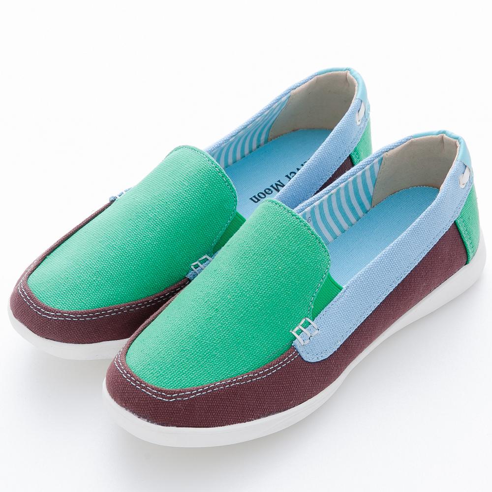 River&Moon休閒鞋-韓版撞色厚乳膠寬楦懶人鞋-綠系