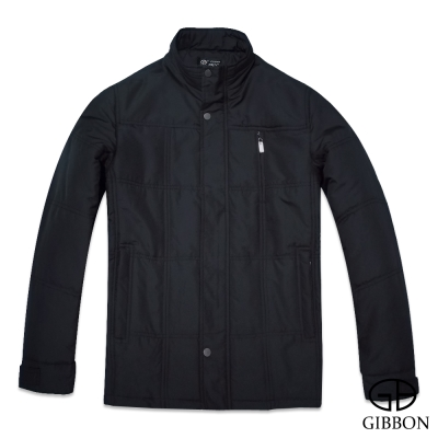 GIBBON 保暖外套經典格繡暗直紋款‧典雅黑