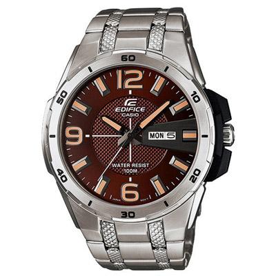 CASIO EDIFICE系列 扭轉簡單生活時尚腕錶-咖啡X銀-45mm