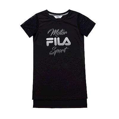 FILA KIDS 女童吸濕排汗長版上衣-黑 5TES-4441-BK