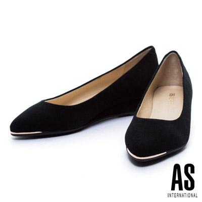 楔型鞋-AS-金屬風羊麂皮尖頭楔型鞋-黑