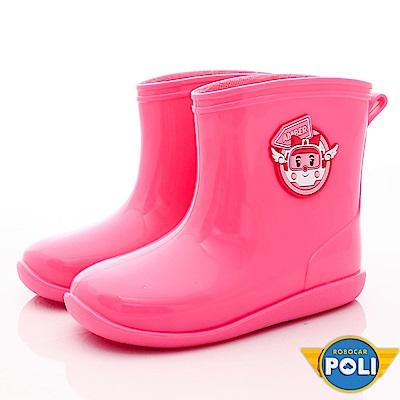 POLI童鞋 上學雨天必備雨鞋 EI1803粉(中小童段)