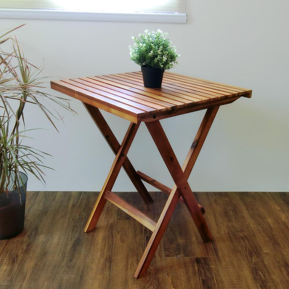 Amos-戶外咖啡休閒鄉村橡木折疊桌-W60*D60*H74CM