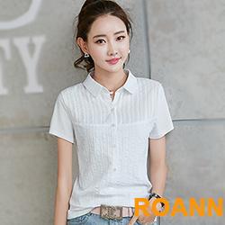 娃娃領直排釦短袖T恤 (共二色)-ROANN