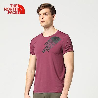 The North Face北面男款暗紫色吸濕排汗戶外運動短T恤