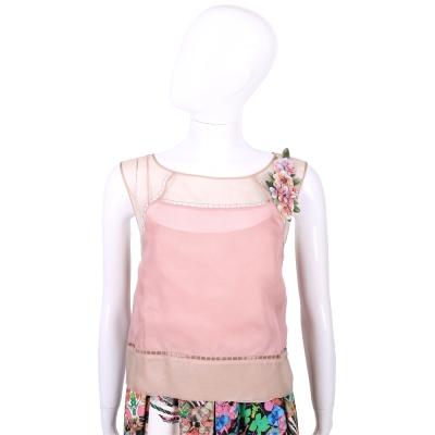 ALBERTA FERRETTI 粉耦色花朵飾雪紡無袖上衣(附內裡)
