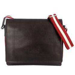 BALLY 經典條紋咖啡色真皮掀蓋拉鍊方形大斜背包