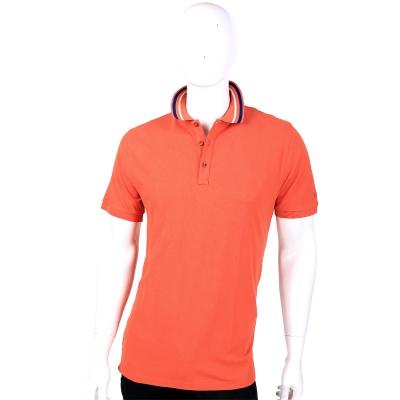 TRUSSARDI 橘色領邊條紋設計短袖POLO衫