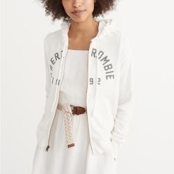 A&F 經典文字貼字連帽外套(女)-米白色 AF Abercrombie