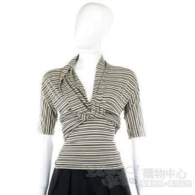KENZO-antonio marras 黑白條紋結飾短袖上衣