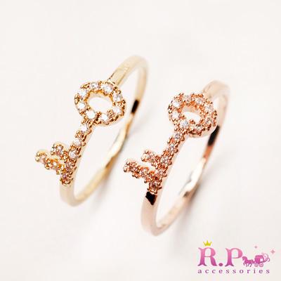 R-P皇家遊樂園-韓系鎖住秘密瑩透水鑽鎖頭戒指