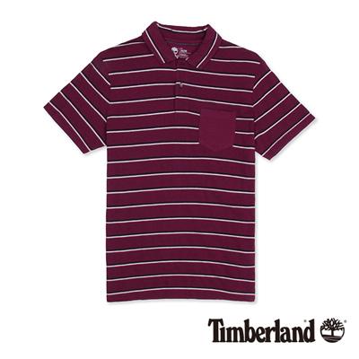 Timberland-男款紫紅色緹花條紋短袖Polo衫
