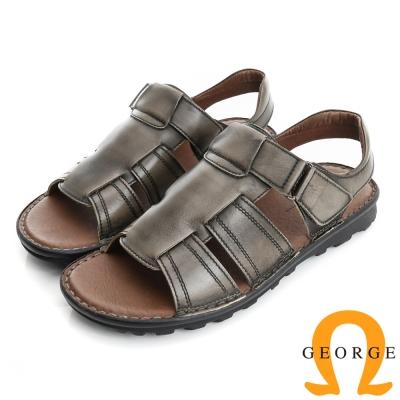 GEORGE 喬治-氣墊系列 仿舊牛皮魔鬼氈休閒涼鞋拖鞋(男)-灰色