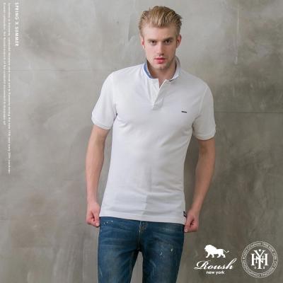 ROUSH 撞色領片設計水洗素面POLO衫(3色)