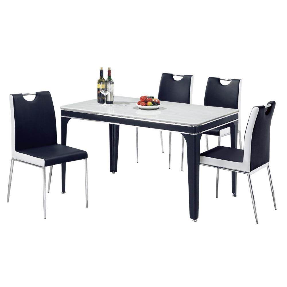 品家居 沐春4.4尺石面餐桌椅組合(一桌四椅)-130.5x80.5x78.5cm-免組
