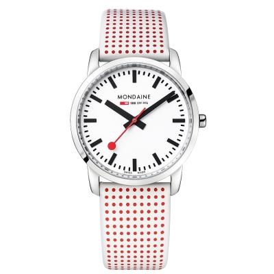 MONDAINE 瑞士國鐵波卡圓點限量薄型腕錶/36mm- 紅