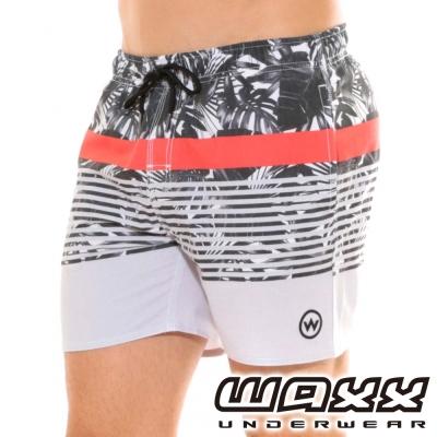 WAXX經典系列-百搭快乾型男海灘褲(灰+紅色)(15英吋)