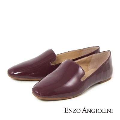 ENZO ANGIOLINI--簡約素面樂福平底鞋-質感紅