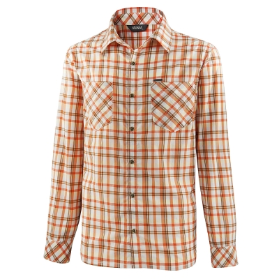 【ATUNAS 歐都納】男款防曬吸濕排汗長袖彈性襯衫 A1-S1301M 橘格